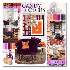"""""""..Orange Sherbert-Grape berry"""" by addicted2design ❤ liked on Polyvore featuring interior, interiors, interior design, home, home decor, interior decorating, WallPops, Graham & Brown, Old Hickory Tannery and MAC Cosmetics"""