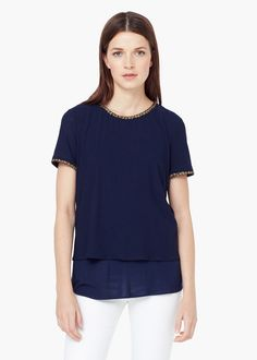 T-shirt fluide texturé -  Femme | MANGO