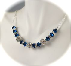Fireball, Peacock Blue Necklace, Swarovski Crystal Rhinestone Necklace, Vintage Style, Sterling Silver, Bridal Wedding Jewelry. $55.00, via Etsy.