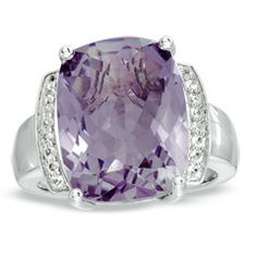 Cushion-Cut Rose de France Amethyst and Lab-Created White Sapphire Ring in Sterling Silver - Size 7 - Zales