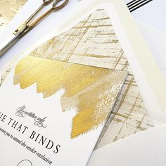 Gold hand painted wedding invitations from Tie That Binds in Portland, Oregon