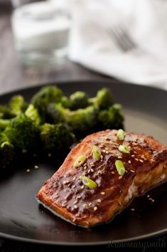 Lemon Miso Salmon is a flaky salmon filet topped with a lemon, ginger ...