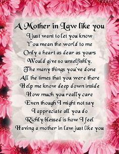 Fridge Magnet - Mother in Law Poem - Pink Floral Design + FREE GIFT BOX in Home, Furniture & DIY, Celebrations & Occasions, Other Celebrations & Occasions   eBay