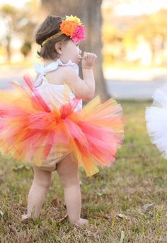 Baby or Newborn TUTU Red, Yellow, Orange, Pink with Flower Headband, 1st Birthday Tutu Set, Girl Tutu, Toddler Tutu, Bright Tutu by TutuCaChu on Etsy