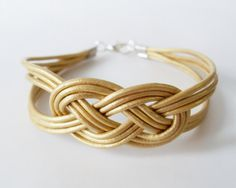 My DIY: Gold Leather Sailor Knot Bracelet by starryday