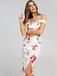 Red Floral Off Shoulder Dress | Portmans $129.95    http://www.shopyou.com.au/ #womensfashion #shopyoustyle