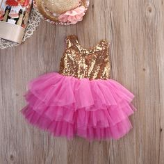 """The """"Brittany Two"""" Gold Sequin Bow Fuchsia Dress - Angora Boutique - 1 Baby Girl Party Dresses, Little Girl Dresses, Baby Dress, Girls Dresses, Flower Girl Dresses, Crochet Baby Costumes, Frock Patterns, African Dresses For Kids, Fuchsia Dress"""