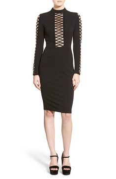 Missguided Lace Inset Long Sleeve Sheath Dress
