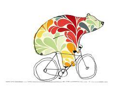oso con colores en bicicleta