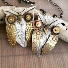 A few more owls #bigowl #owlpendants #roneprinzjewelry #jewelryonetsy #jewelryoninstagram #owljewelry #steampunk