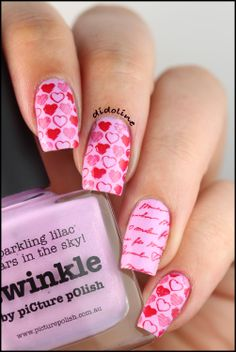 Love Week - Twinkle, Twinkle, Little Heart ... ~ base colour: Picture Polish 'Twinkle' stamped with Moyou-London Princess No. 08 using Sally Hansen 'Rapid Red' (similar stamp pattern on Bundle Monster plate 'BM-303') ~ by Didoline's Nails