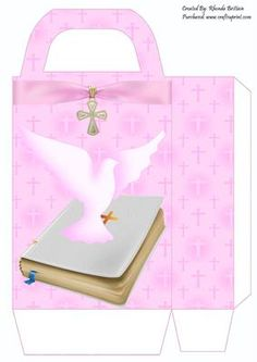 Christening Girl Gift Bag on Craftsuprint designed by Rhonda Brittain - This beautiful pink christening gift bag is easy to put together. Print twice on good quality card, cut out, fold and glue together.  - Now available for download!