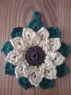Crocheted potholder - I love sunflowers!