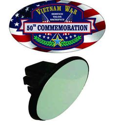 The design on this Vietnam War 50th Commemoration Tow Hitch Cover was created as part of the commemorative effort to educate the public on the lesser-known aspects of the war, to thank and honor Vietnam veterans from all of the Armed Forces, and to recognize the sacrifices made by the U.S. and her allies throughout the war. Vietnam War 50th Commemoration Tow Hitch Cover.