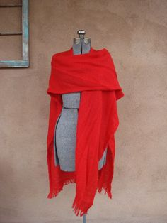 Vintage 1960s Red Shawl Sarape All Sizes Plus by bycinbyhand