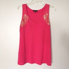 Fuschia Sequined Tank Top Fuchsia tank top with gold sequined/beaded detailing in front and back shoulders.  Beading also along neckline. Very soft, flowy material. Tiny pinhole in back, due to thin material. (Pictured). // Express brand // Sz M // non-smoking home.// ....... 20% off 2+ Bundles // Reasonable Offers Welcome! // Same Day or Next Day Shipping!!  Express Tops Tank Tops