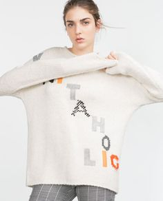 Image 2 of SWEATER WITH TEXT from Zara