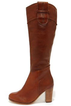 Diba True Connect Tion Tan Leather Knee High Heel Boots at Lulus.com!  134.00