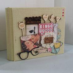 This would make a cute beachy album using the burlap. New Binding  Faux Post Bound Mini Album