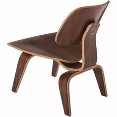 poltrona / cadeira charles eames lcw em madeira