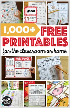 1,000 FREE Printables for the classroom or home