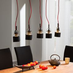Hanglamp Buzzwire - zwart/rood 5 lichtbronnen