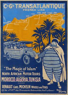 """Vintage travel poster: Michelin tour of North Africa """"The Magic of Islan"""""""