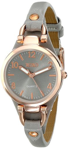 XOXO Women's XO3400 Round Gray Watch with Narrow Faux-Leather Band