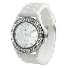 688bbbf06 Geneva Platinum CZ Accented Silicon Link Watch, Large Face - - This watch  features a soft, silicone band and cubic zirconia accent stones surrounding  the ...