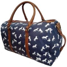 Large navy travel bag with leatherlook trim featuring a white horse design. Horse Stalls, Travel Bag, Horses, Navy, Design, Hale Navy, Old Navy, Horse