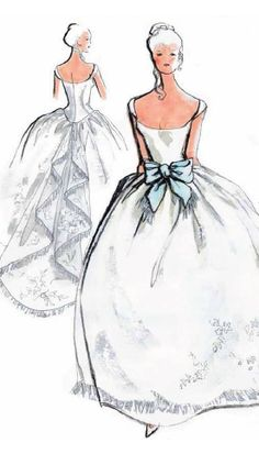 Oleg Cassini ball gown design featuring a statement ribbon.