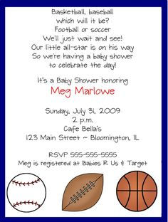 baby boy sports shower ideas | Shop our Store > All Star Sports Baby Shower Invitations