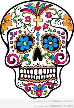 Items similar to mexican sugar skull sticker on Etsy Sugar Skull Tattoos, Sugar Skull Art, Sugar Skulls, Sugar Skull Painting, Candy Skulls, Mexican Skulls, Mexican Art, Mexican Candy, Mexican Style