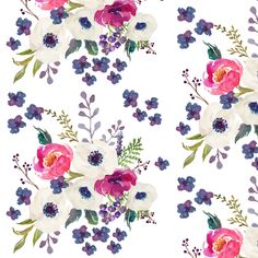Boho Purple Floral Print - White fabric by shopcabin on Spoonflower - custom fabric