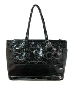 Authentic Coach Black Signature Stitched Patent Leather Large Tote Diaper Bag