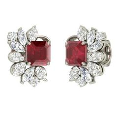 Emerald-Cut Ruby Studs Earring in 14k White Gold with VS Diamond, SI Diamond