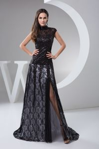Arbroath High-neck Brush Train Beaded Black Lace Informal Evening Dress