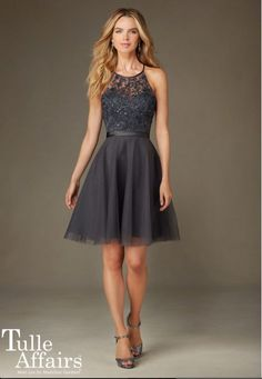 Shop Morilee's Short Tulle Bridesmaid Dress with Beaded Embroidery. Bridesmaid Dresses and Gowns by Morilee designed by Madeline Gardner. Short Tulle Bridesmaid Dress with Embroidery and Beading with Satin Waistband Mori Lee Bridesmaid, Grey Bridesmaids, Tulle Bridesmaid Dress, Short Bridesmaid Dresses, Tulle Dress, Homecoming Dresses, Short Dresses, Formal Dresses, Wedding Dresses