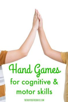 The Inspired Treehouse - Hand games are great way to develop hand-eye coordination, bilateral coordination, motor planning and midline crossing and they have been one of our top posts at The Inspired Treehouse. Cognitive Activities, Occupational Therapy Activities, Motor Skills Activities, Gross Motor Skills, Sensory Activities, Learning Activities, Movement Activities, Activities For 6 Year Olds, Visual Perception Activities