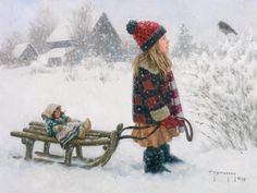 When snow comes to the Cottage, and the grand-darlings take to their sleds, Dolly wants to go, too.