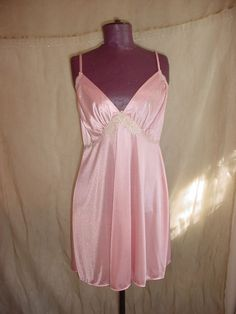 Colesce Collection Chemise Nightie size Large Pink with Ivory Lace #ColesceCollection #BabydollChemise Seller florasgarden on ebay