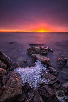 ~~Last Ice ~ start of spring, serene sunrise, Lake St. Clair, Michigan by Mark Graf Photography~~