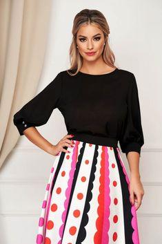 Bluza dama StarShinerS neagra office din material vaporos cu croi larg si maneci trei-sferturi Waist Skirt, High Waisted Skirt, Tommy Hilfiger, Floral, Skirts, Products, Fashion, Cots, Moda
