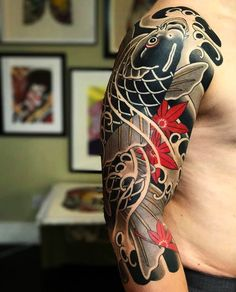 Risultati immagini per colorful japanese tattoo sleeve Irezumi Tattoos, Tribal Tattoos, Tatuajes Irezumi, Asian Tattoos, Tebori Tattoo, Japanese Tattoo Koi, Japanese Tattoo Designs, Japanese Sleeve Tattoos, Koi Tattoo Design