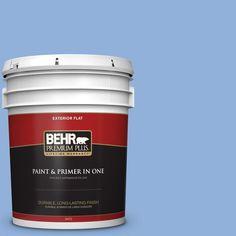 BEHR Premium Plus 5-gal. #580B-5 Cornflower Blue Flat Exterior Paint
