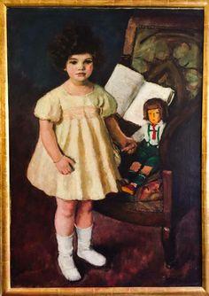 """Eugen Spiro, """"Lana mit Puppe"""", Berlin 1922, Oil on canvas"""