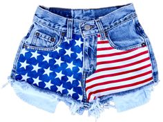 High-Waisted Light Washed denim with American Flag print on the front side. Pockets visible. $12.00