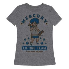 "Mercury Lifting Team Parody - Get swol with Ami Mizuno in this Sailor Mercury Parody Design! Join the Mercury lifting team and channel the Sailor Scout's strength into your next workout. This design features an illustration of Amy working out and the phrase ""Mercury Lifting Team, Brains Brawn and Beauty."""