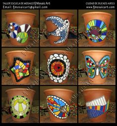 Mosaic images on clay flower pots Mosaic Planters, Mosaic Garden Art, Mosaic Vase, Mosaic Flower Pots, Painted Flower Pots, Painted Pots, Mosaic Tiles, Mosaic Crafts, Mosaic Projects