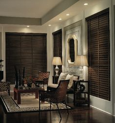 """1 3/8"""" Premium wood blind shown in Dark Mahogany Bedroom Blinds, Curtains With Blinds, Blinds For Windows, Wooden Window Blinds, Fake Windows, Privacy Blinds, Sheer Blinds, Blinds Diy, Bedrooms"""